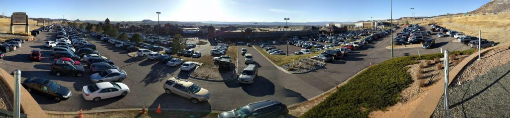 The packed parking lot at the Outlets at Castle Rock on Black Friday. (Kevin J. Beaty/Denverite)