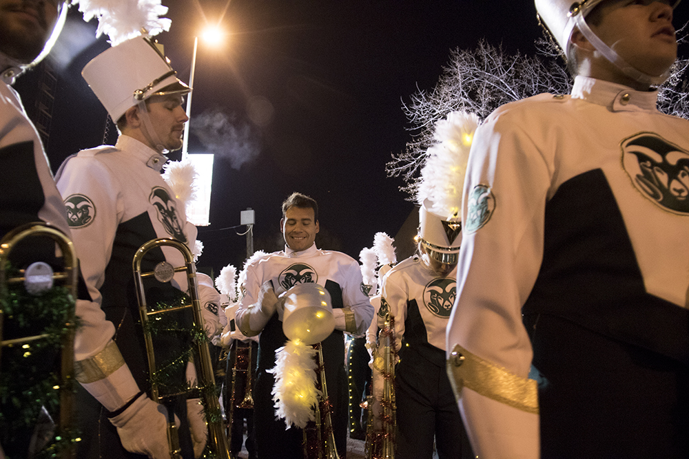 The CSU marching band. Parade of lights. Dec. 2, 2016. (Kevin J. Beaty/Denverite)