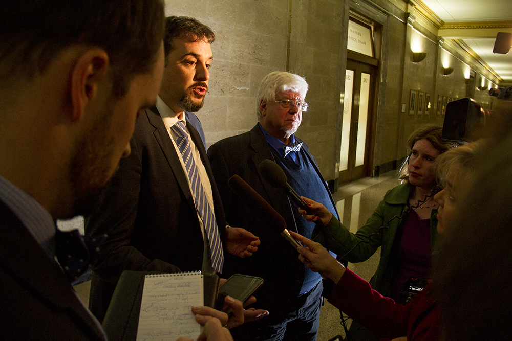 Jesse Witt, representing electoral college voter Michael Robert, speaks to press outside of the courtroom. Dec. 13, 2016. (Kevin J. Beaty/Denverite)  faithless electors; electoral college; election; politics; copolitics; law; city and county building; kevinjbeaty; denver; denverite; colorado;
