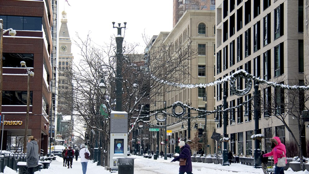 Winter over the 16th Street Mall. (Kevin J. Beaty/Denverite)