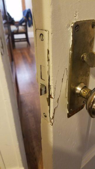 Meiners' door was kicked in.