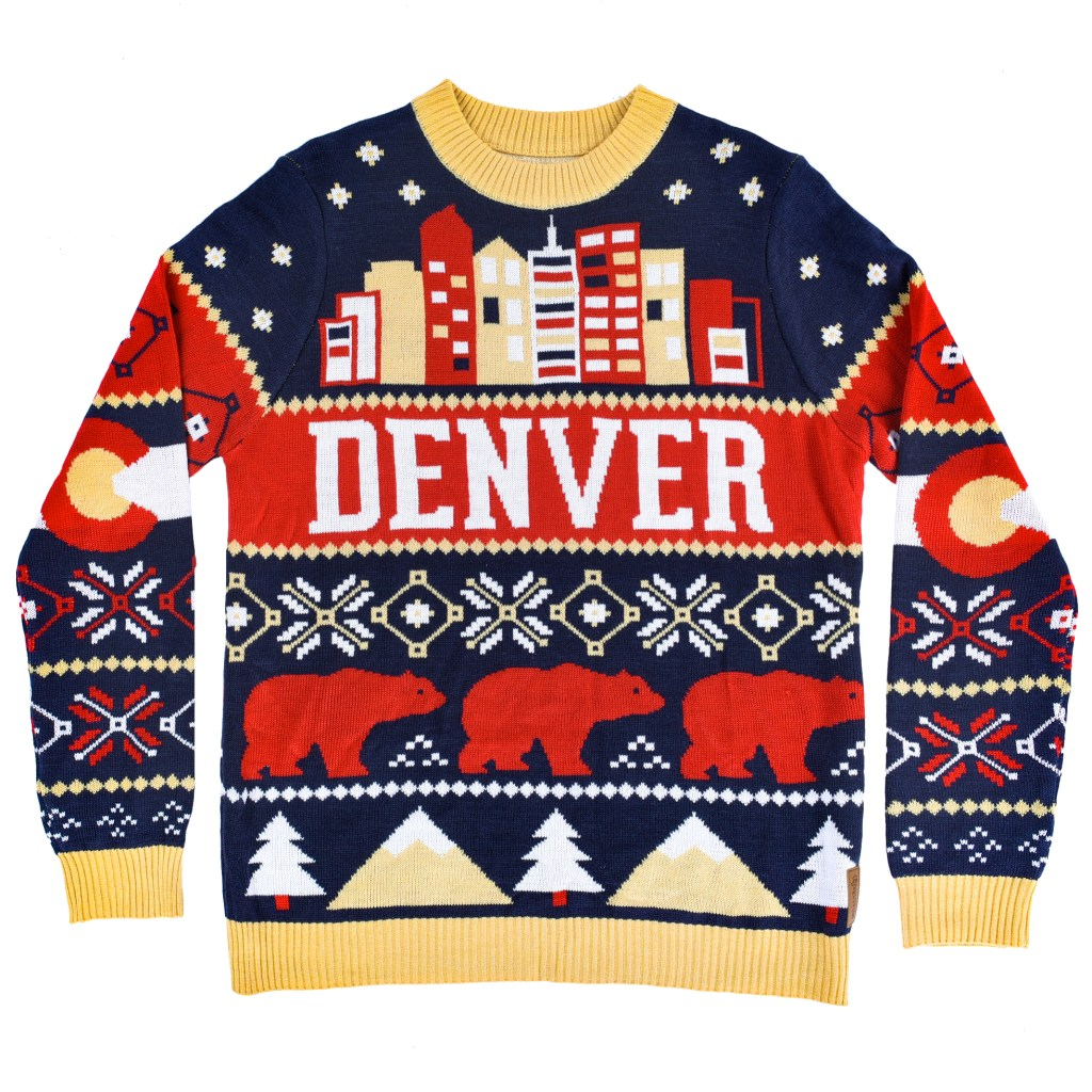 The Denver ugly Christmas sweater created by Tipsy Elves for Uber. (Courtesy of The Avenue West)