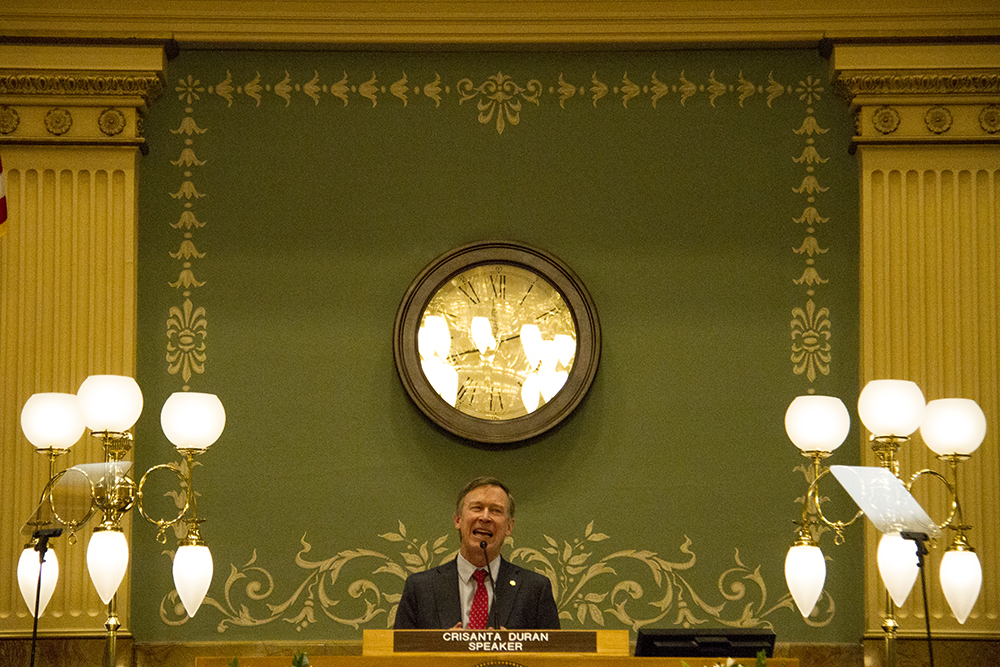 Colorado Governor John Hickenlooper gives his annual state of the state address. Jan. 12, 2017. (Kevin J. Beaty/Denverite)  state of the state; copolitics; politics; governor john hickenlooper; capitol; kevinjbeaty; colorado; denver; denverite;