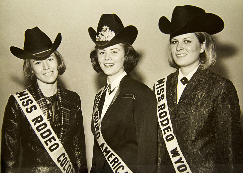 Ms. Rodeo America contest at the National Western Stock Show, circa 1967. (Denver Public Library/Western History Collection/Denver Metro Chamber of Commerce Records)  denver; denverite; denver public library; western history collection; archive; archival; National Western Stock Show; nwss;