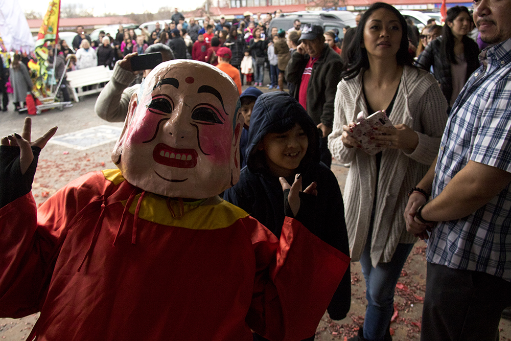 A Buddha from Nguyen Thieu Buddhist Youth Group poses during Chinese New Year, Jan. 29. 2017. (Kevin J. Beaty/Denverite)chinese new year; federal boulevard; westwood; denver; kevinjbeaty; denverite; colorado;