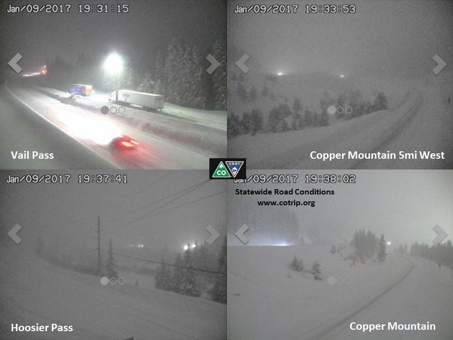 Snow blankets mountain passes on the night of Jan. 10. (CDOT)