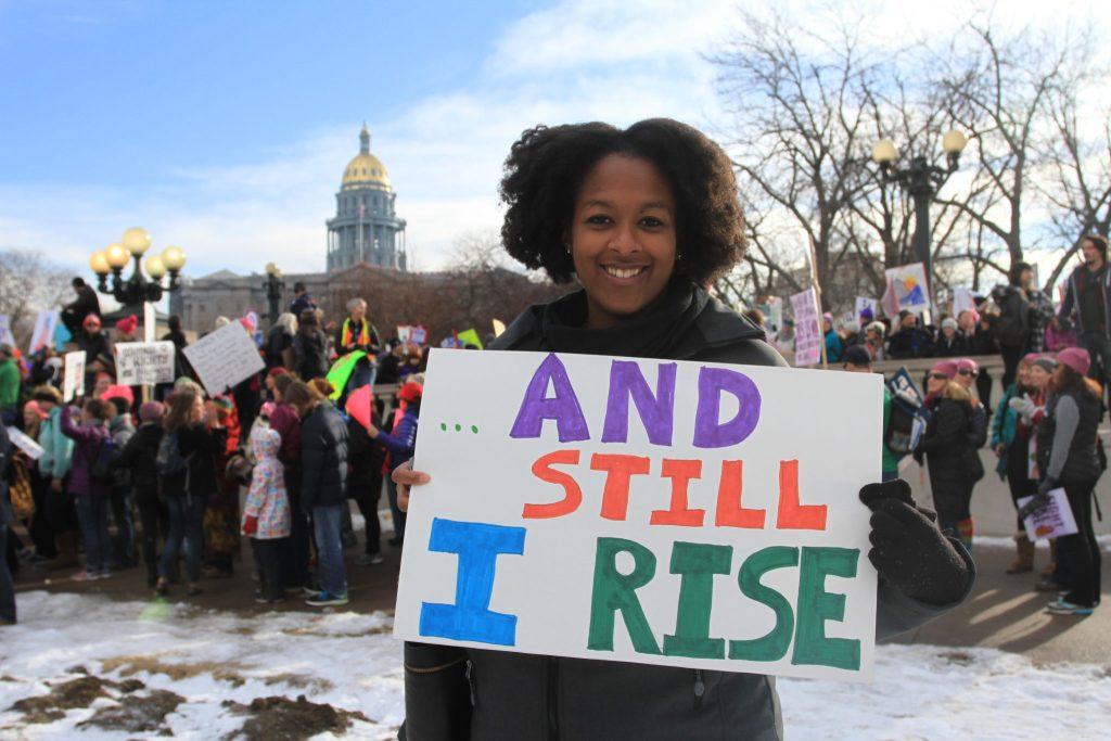Keelie Sorel attends the Women's March on Denver on Saturday, Jan. 21, 2017.