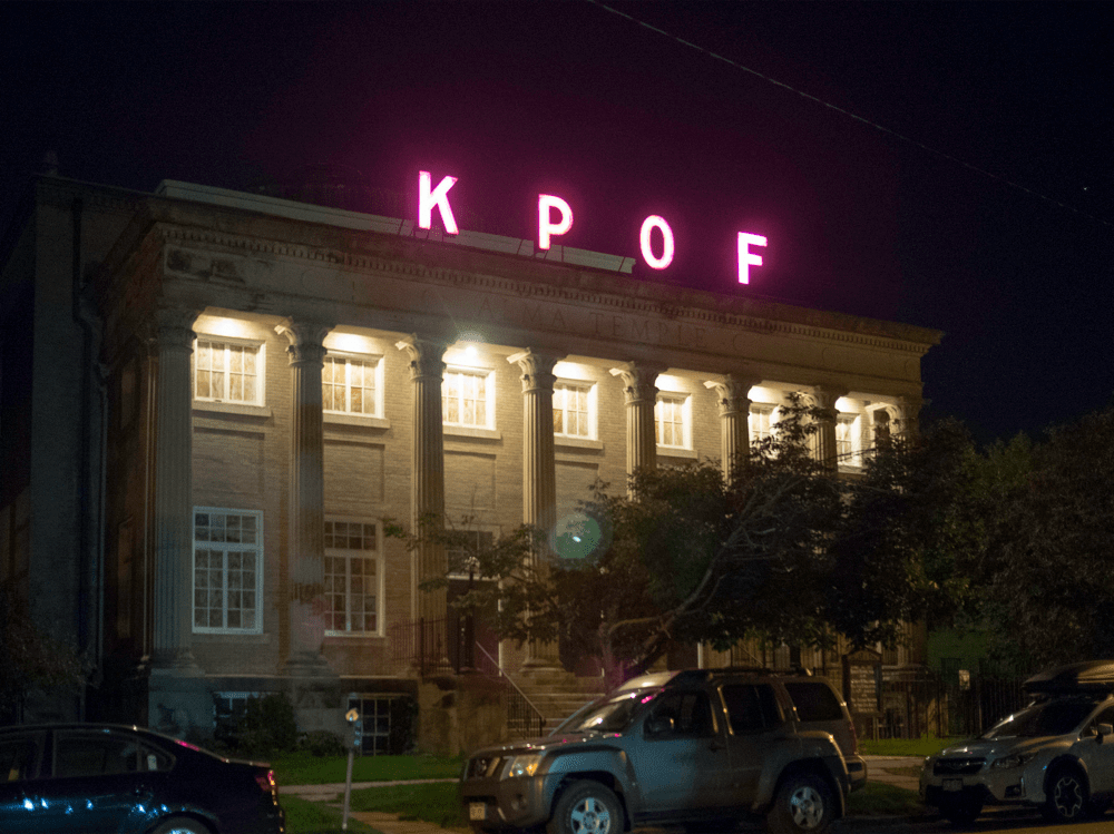 The KPOF sign at Alma Temple illuminated. (SJSharkTank/Flickr/ cropped, distributed under CC BY-SA 2.0)
