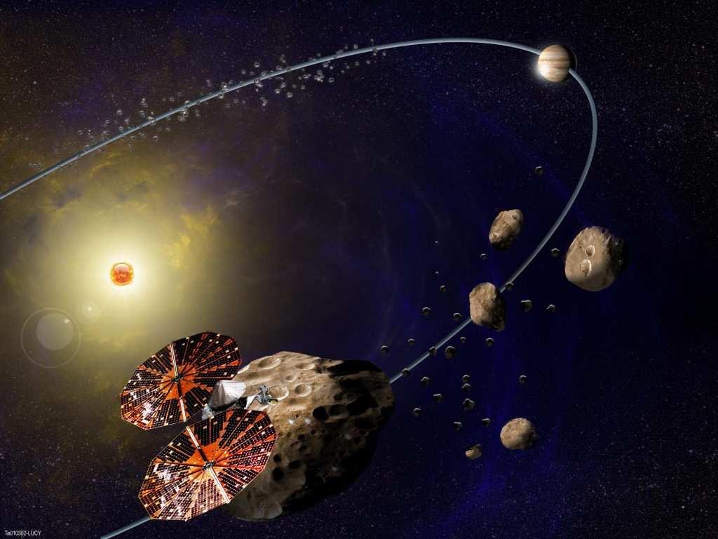 An artist's rendition of the Lucy spacecraft. (Courtesy of the Southwest Research Institute)