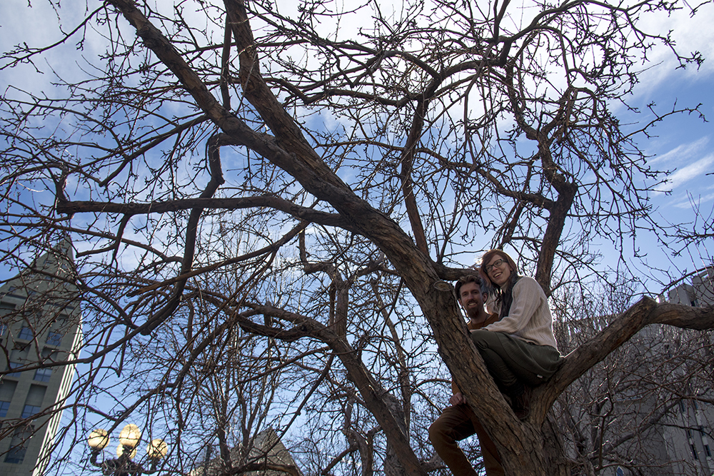 Brena Adams and Eric Martin sititng in a tree. The Protect Our Muslim Neighbors Rally at Civic Center Park, Feb. 4, 2017. (Kevin J. Beaty/Denverite)  march; protest; muslim neighbors; civic center park; copolitics; kevinjbeaty; denver; denverite;