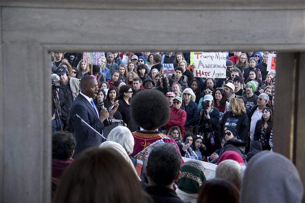 Manual High School Student Body President Tay Anderson speaks at the Protect Our Muslim Neighbors Rally at Civic Center Park, Feb. 4, 2017. (Kevin J. Beaty/Denverite)  march; protest; muslim neighbors; civic center park; copolitics; kevinjbeaty; denver; denverite;