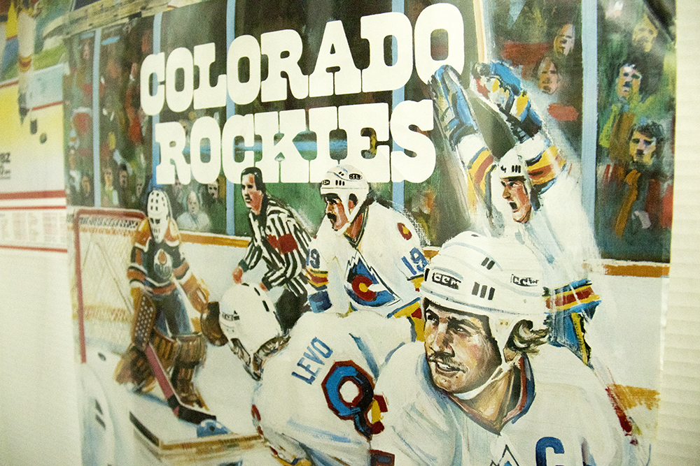 A poster of the Colorado Rockies hockey team. Bill's Sports Collectibles. (Kevin J. Beaty/Denverite)  bill's sports collectibles; retail; kevinjbeaty; denver; denverite; colorado;