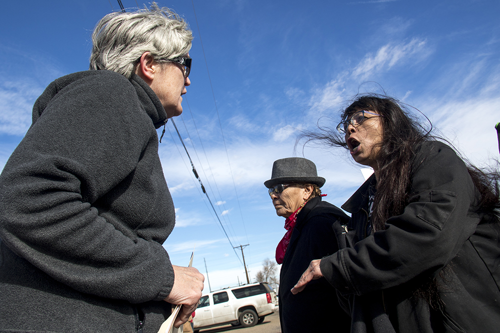 """Brenda C. (right), a counter protester yells at a pro-life rallier. A """"Defund Planned Parenthood"""" Rally outside Planned Parenthood of the Rockies, Feb. 11, 2017. (Kevin J. Beaty/Denverite)  abortion; pro life; planned parenthood; denver; colorado; kevinjbeaty; denverite; copolitics; politics;"""