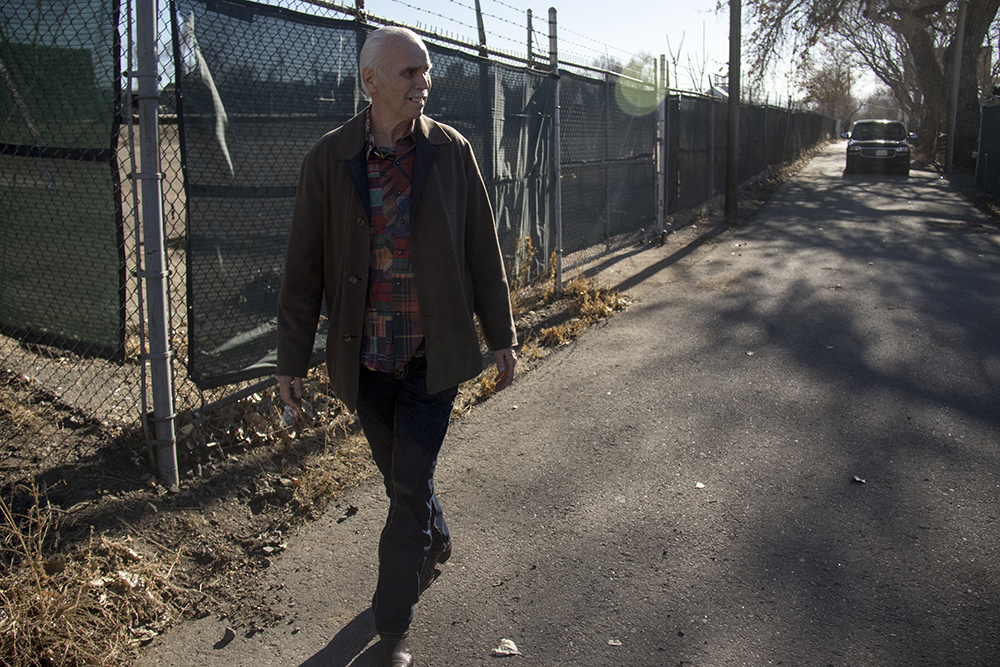 Bernard Hurley walks past a property he's aiming to redevelop in RiNo. (Kevin J. Beaty/Denverite)  Bernard Hurley; rino; development; kevinjbeaty; denver; colorado; denverite;