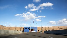 The GEO private immigrant detention facility in Aurora. (Kevin J. Beaty/Denverite)  ICE; immigration; deportation; aurora; protest; rally; denver; colorado; kevinjbeaty; denverite