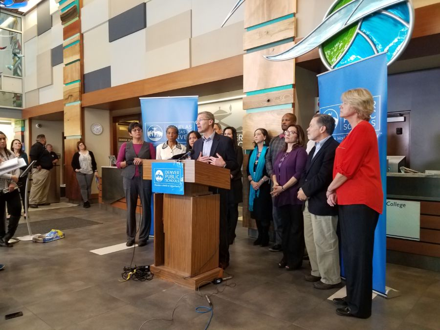 DPS Superintendent Tom Boasberg, school board members and others at Thursday's news conference. (Eric Gorski, Chalkbeat)