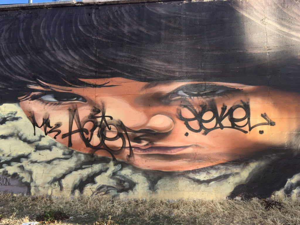 """Graffiti on the """"Paramount"""" murals by Alexandre Orion on the Cherry Creek Trail at Broadway. (Dave Burdick/Denverite)"""