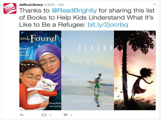 A tweet deleted by Jefferson County Public Library, as captured in a constituent complaint. (Courtesy Jefferson County Public Library)