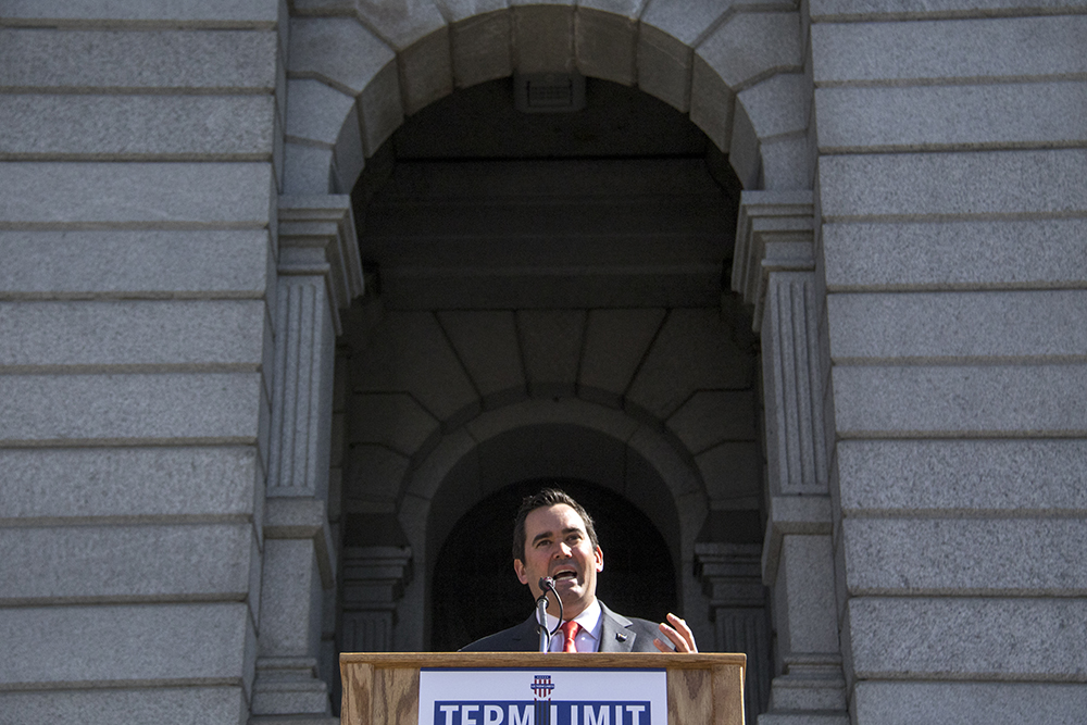 Colorado State Treasurer Walker Stapleton speaks at a U.S. Term Limits rally on the Capitol steps. (Kevin J. Beaty/Denverite)