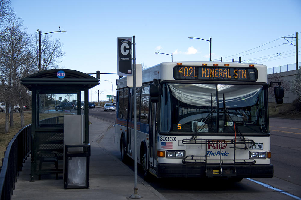 An RTD Bus at the County Line Road light rail station in Centennial. (Kevin J. Beaty/Denverite)  transportation; transit; kevinjbeaty; denver; colorado; denverite; centennial; rtd; bus;