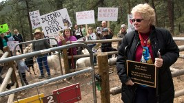 Elk Meadow Dog Park founder Judi Quackenboss holds a memorial plaque for her son that she's removed from the space before it closes. March 30, 2017. (Kevin J. Beaty/Denverite)  elk meadow dog park; evergreen; colorado; kevinjbeaty; parks; denverite;