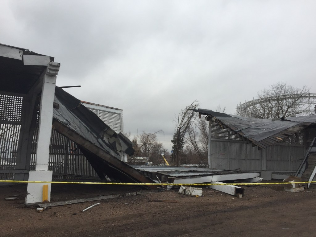 Structure collapse at Lakeside Amusement Park.  March 11, 2017. (Courtesy Matt Sebastian/Boulder Daily Camera)