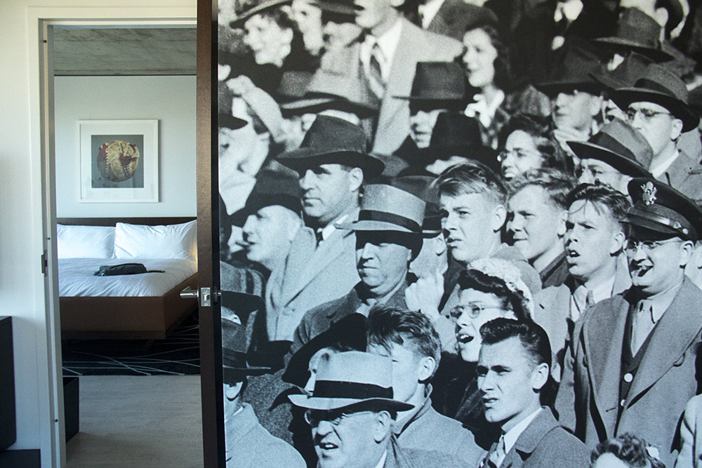 The Maven Hotel's baseball-themed Diamond Suite inside the Dairy Block downtown. (Kevin J. Beaty/Denverite)  maven hotel; dairy block; downtown; lodo; denver; colorado; kevinjbeaty; denverite;
