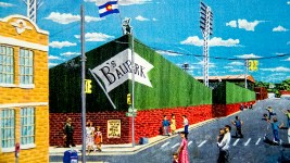 "A drawing depicting ""B's Ballpark,"" home of the bears with a peaking green rear wall. (Denver Public Library/Western Hisory Collection/Karle Seydel Papers)  baseball; coors field; sports; denver; colorado; denverite; denver public library;"