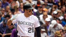 Nolan Arenado at bat. Coors Field opening day, April 7, 2017. (Kevin J. Beaty/Denverite)  rockies; ballpark; coors field; sports; baseball; opening day; denver; colorado; denverite; kevinjbeaty;
