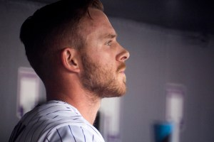 Trevor Story in the dugout. Coors Field opening day, April 7, 2017. (Kevin J. Beaty/Denverite)  rockies; ballpark; coors field; sports; baseball; opening day; denver; colorado; denverite; kevinjbeaty;
