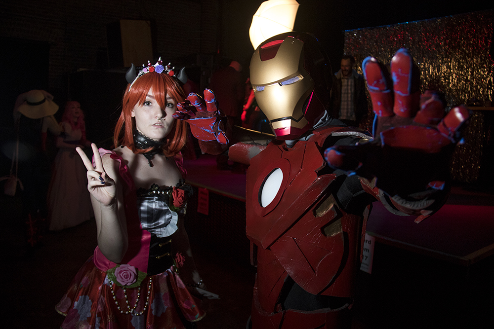 Isabelle McGee as Maki and Nathan Arem as Iron Man. Nerd Prom at Summit Music Hall, April 8, 2017. (Kevin J. Beaty/Denverite)  nerd prom; cosplay; geek; party; video games; kevinjbeaty; denver; denverite; colorado;