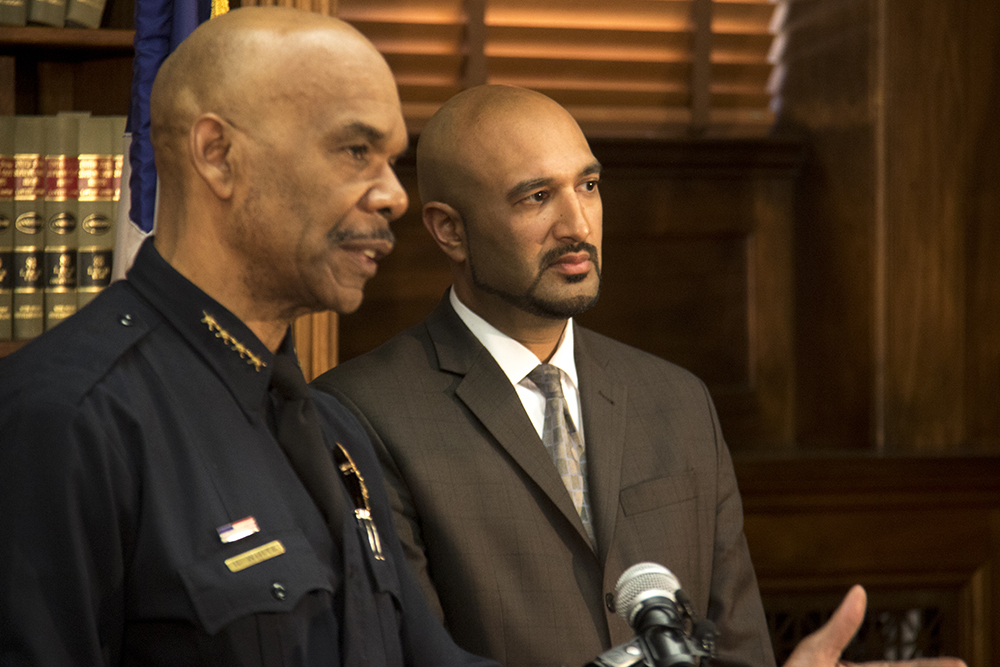Lawyer Qusair Mohamedbhai and Denver Police Department Chief Robert White. A press conference detailing a settlement agreement between Denver and the family of Jessica Hernandez, April 12, 2017. (Kevin J. Beaty/Denverite)  jessica hernandez; denver police; chief robert white; city and county building; kevinjbeaty; denver; denverite; kevinjbeaty;