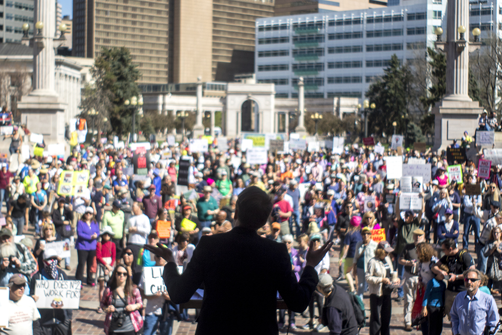 Organizer Craig Martin addresses the crowd. The Tax Day march calling for President Trump to release his returns, April 15, 2017. (Kevin J. Beaty/Denverite)  tax day; tax march; protest; copolitics; kevinjbeaty; denver; denverite; colorado; civic center park;