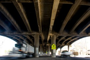 Underneath the I-70 viaduct near Josephine Street, April 18, 2017. (Kevin J. Beaty/Denverite)  elyria swansea; i70; i-70; development; denver; colorado; kevinjbeaty; denverite;