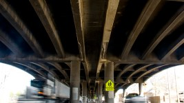 Underneath the I-70 viaduct near Josephine Street, April 18, 2017. (Kevin J. Beaty/Denverite)  elyria swansea; i70; i-70; development; denver; colorado; kevinjbeaty; denverite;