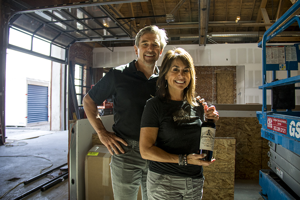 Bigsby's Folly owners Chad and Marla Yetka in the winery before it opens, April 19, 2017. (Kevin J. Beaty/Denverite)  five points; rino; construction; development; bigsbys folly; winery; Denver; colorado; denverite; kevinjbeaty