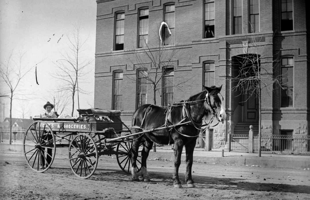 A grocery delivery wagon in Denver circa 1904-1915. (Charles S. Lillybridge/Western History & Genealogy Dept./Denver Public Library)