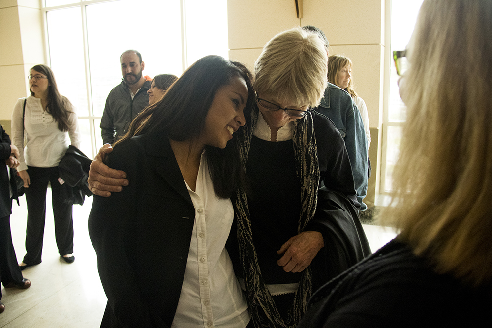 Ingrid Encalada Latorre hugs Judy Danielson. Jefferson County courthouse, May 3, 2017. (Kevin J. Beaty/Denverite)  immigration; undocumented; deportation; law; court; jefferson county; golden; colorado; kevinjbeaty