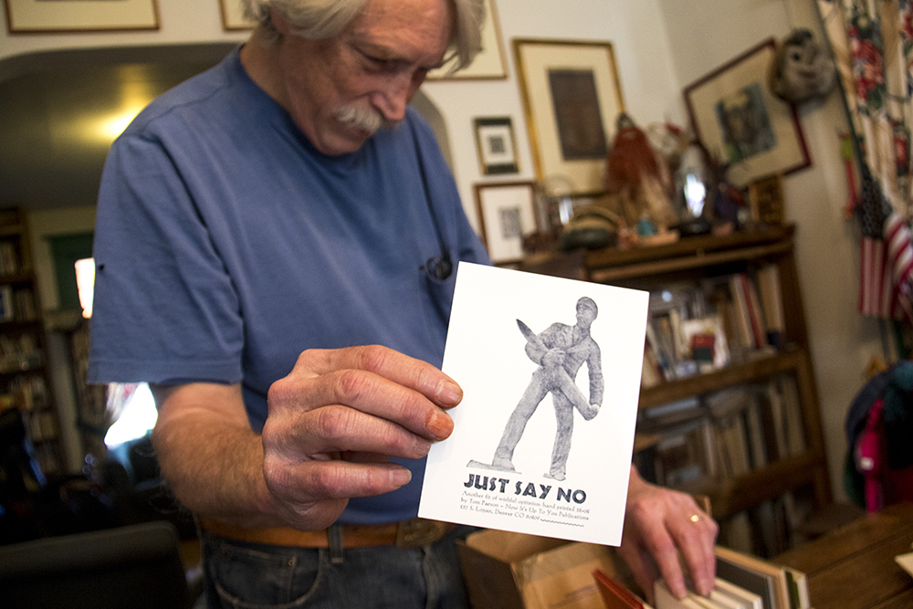A print by Tom Parson held by Tom Parson in his home, May 4, 2017. (Kevin J. Beaty/Denverite)letterpress; art; englewood; depot; tom parson; collector; kevinjbeaty; denverite; odd spot; denver; colorado;