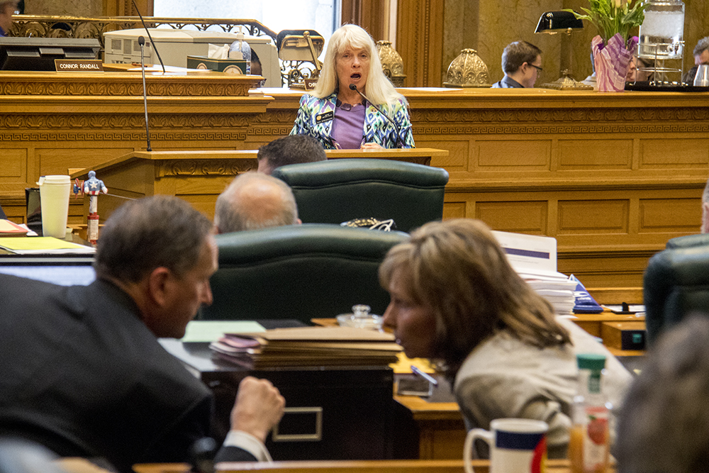 No-voters District 25 Rep. Timothy Leonard and District 38 Rep. Susan Beckman converse while yes-voter District 26 Rep. Diane Mitsch Bush speaks at the mic during a hearing on Senate Bill 17-267, Sustainability Of Rural Colorado, on the last day of the legislative session, May 10, 2017. (Kevin J. Beaty/Denverite)  copolitics; house of representatives; politics; capitol; kevinjbeaty; denver; denverite; colorado;