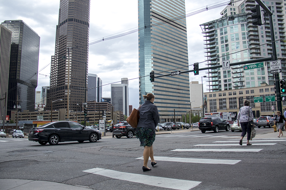 The intersection of Grant Street and 19th Avenue, May 16, 2017. (Kevin J. Beaty/Denverite)  pedestrians; walkability; kevinjbeaty; denver; colorado; denverite;