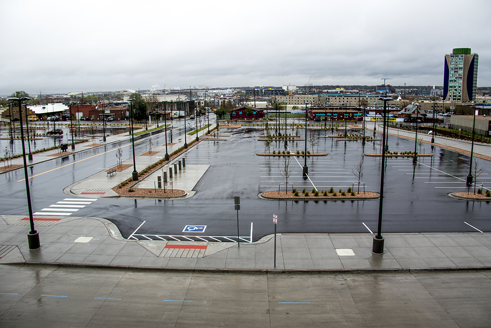 The intersection of 41st Avenue and Fox Street as seen from a pedestrian bridge over nearby train tracks, May 18, 2017. (Kevin J. Beaty/Denverite)   rtd station; denver; colorado; kevinjbeaty; denverite;