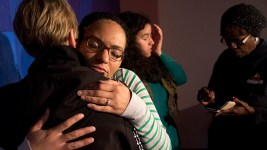 Jasmine Lima-Marin hugs Marilyn Stranske after a press conference on her husband's case at the Hans Meyer Law Office, May 19, 2017. (Kevin J. Beaty/Denverite)  rene lima-marin; immigration; deportation; hans meyer law office; kevinjbeaty; denver; colorado; denverite;