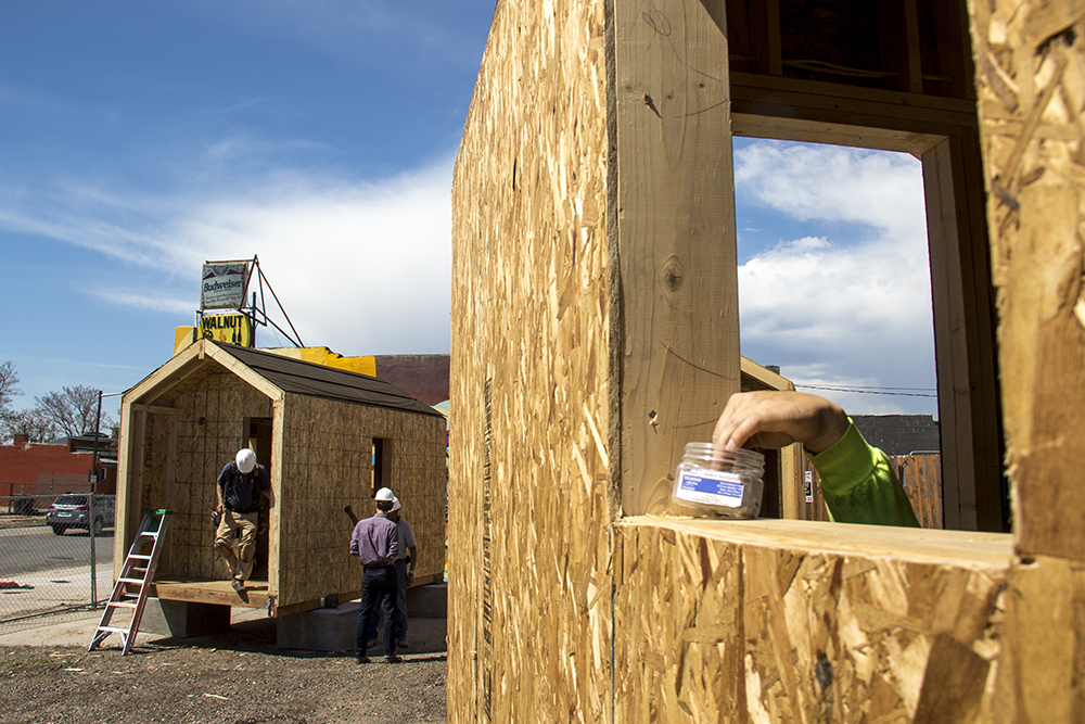 The Beloved Community Village at Walnut and 38th streets, May 31, 2017. (Kevin J. Beaty/Denverite)  tiny home village; homeless; right to rest; urban camping ban; denver; colorado; denverite; five points; kevinjbeaty;