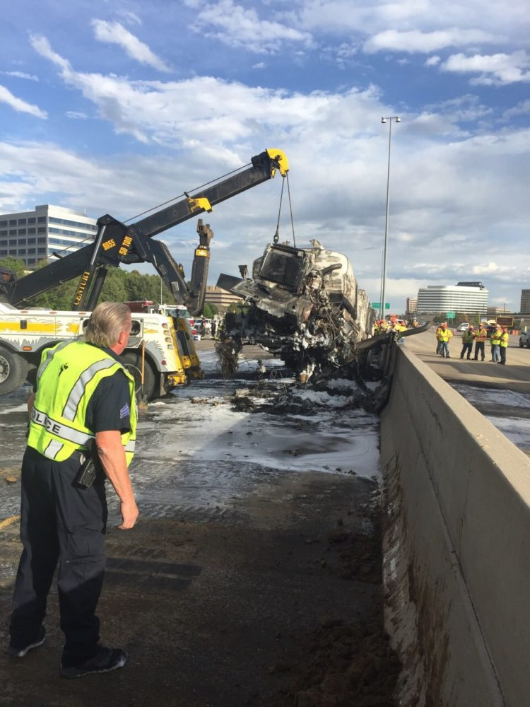 A burned truck on Interstate 25. (CDOT)