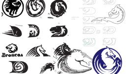 Sketches from the design process of the Denver Broncos logo. (Courtesy Rick Bakas)