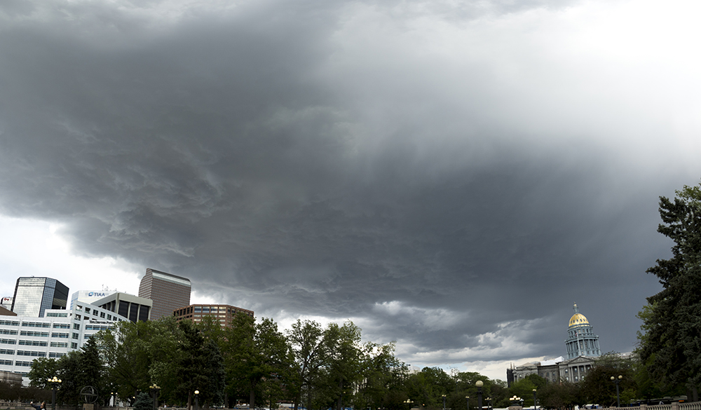 Clouds over Civic Center Park, May 31, 2017. (Kevin J. Beaty/Denverite)  denver; denverite; colorado; kevinjbeaty; cowx; weather;