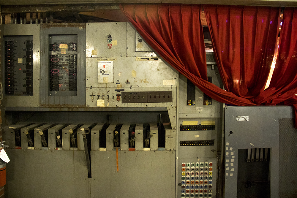 Old electircal switches backstage at the Historic Elitch Theatre, West Highland, June 3, 2017. (Kevin J. Beaty/Denverite)historic elitch theatre; west highland; kevinjbeaty; denver; theater; colorado; denverite;
