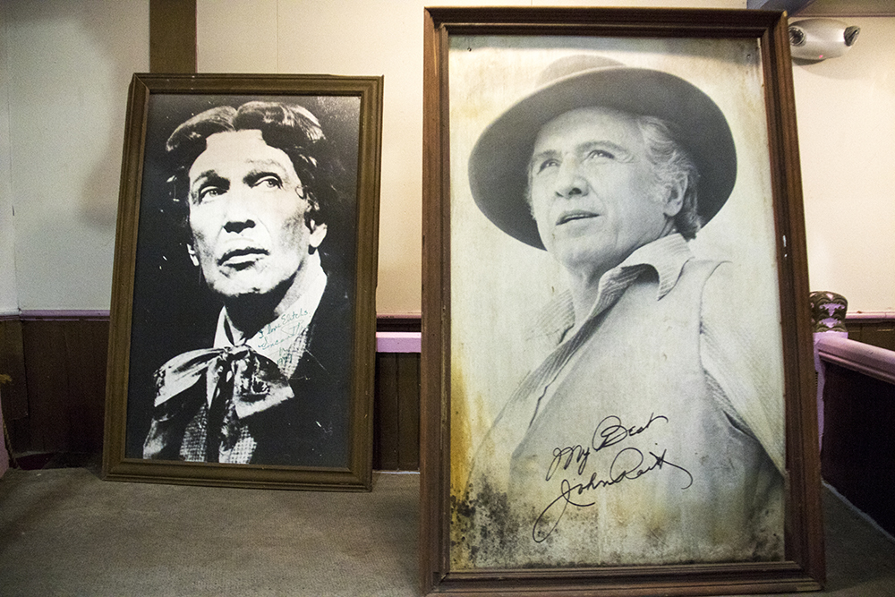 Portraits of Vincent Price and John Raitt who performed here at the Historic Elitch Theatre, West Highland, June 3, 2017. (Kevin J. Beaty/Denverite)  historic elitch theatre; west highland; kevinjbeaty; denver; theater; colorado; denverite;
