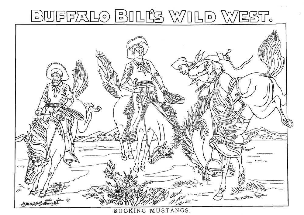 """'Bucking Mustangs'. The number of injuries suffered by Cody's Wild West show performers is unknown. However, the pay was good and the cowhands and Native Americans in his show went from the Great Plains to performing in front of the crowned heads of Europe."" (Courtesy)"
